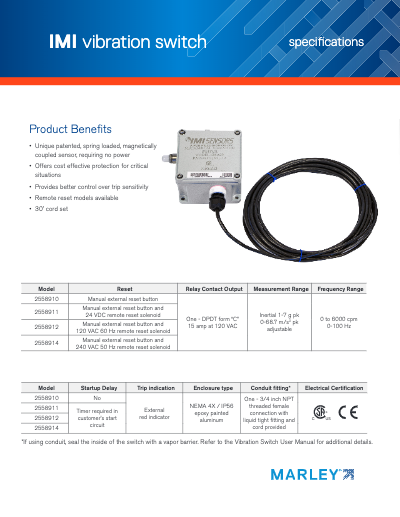 IMI Sensors Vibration Switch Specifications