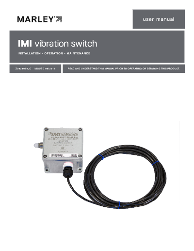 IMI Sensors Vibration Switch IOM User Manual