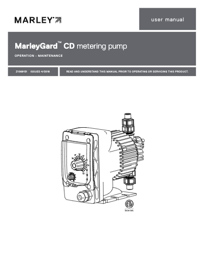 MarleyGard CD Chemical Metering Pump IOM User Manual