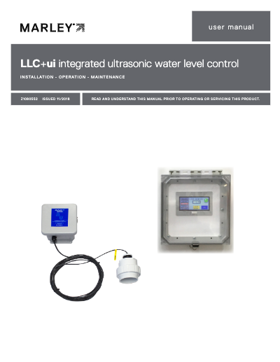 LLC+ui integrated ultrasonic water level control User Manual